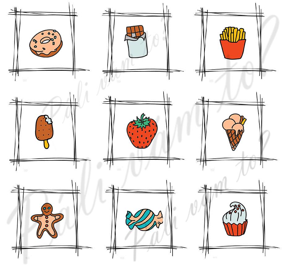 """Obrázok obsahuje rôzne jedlá, pričom """"zdravá strava"""" vás dovedie k správnemu riešeniu."""