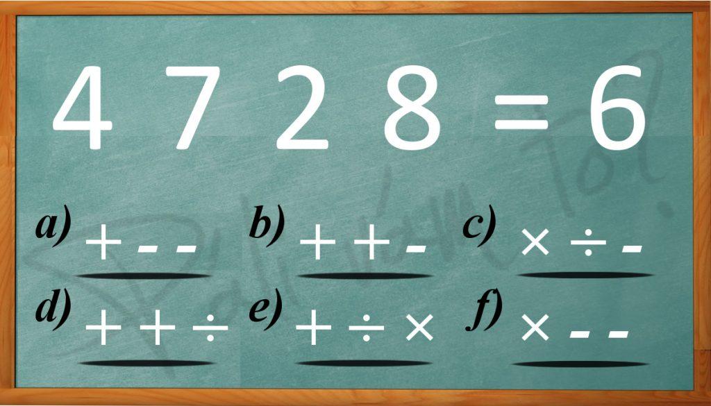 Doplňte chýbajúce matematické znamienka.... na výber máte 6 možností, takže to určite bude pre vás hračka :)